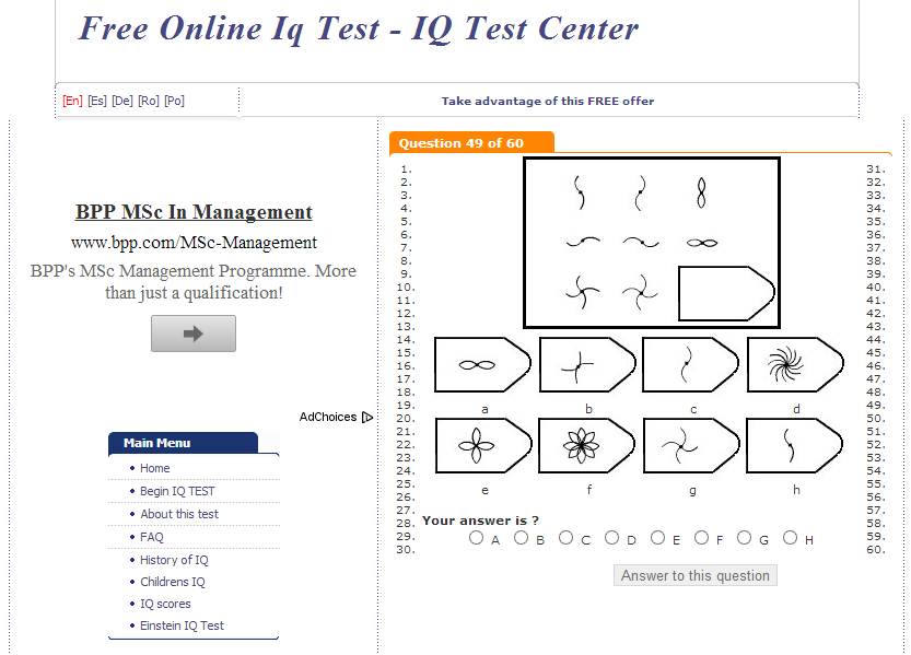 Impertinent image pertaining to printable iq test with answers pdf