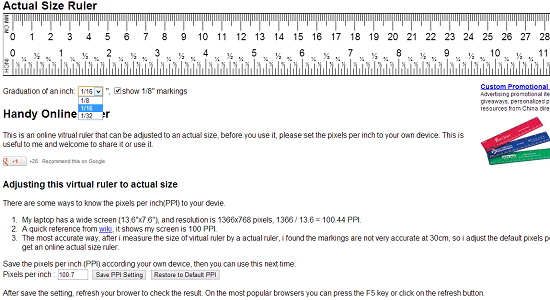 image regarding Ruler Actual Size Printable referred to as 7 On-line Rulers In just Metric And Inches