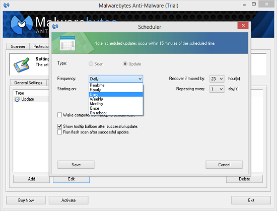 Scheduler in Malwarebytes AntiMalware PRO