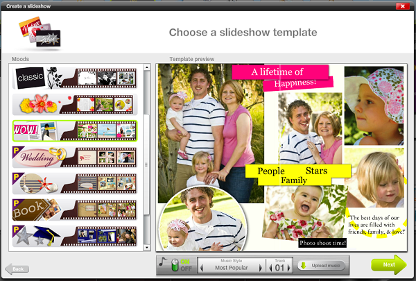 Choose a slideshow template