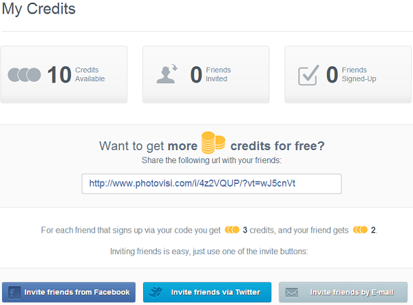 Earn credits by inviting your friends