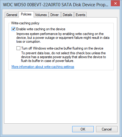 Enable writing caching on the device
