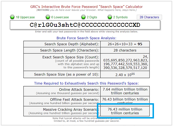 "GRC's Interactive Brute Force Password ""Search Space"" Calculator"