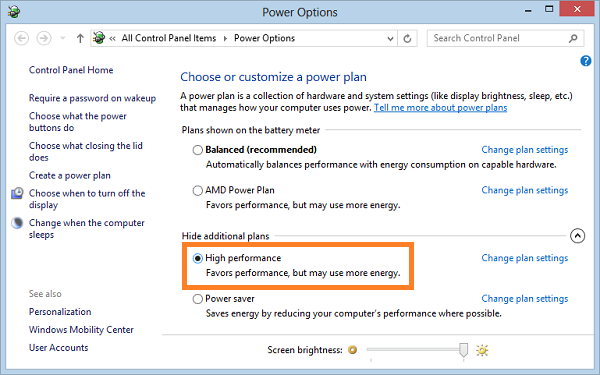 High performance power settings