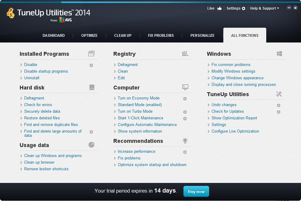 All TuneUp Utilities 2014 Functions