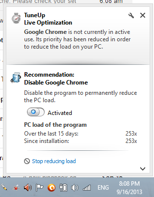 Disable Google Chrome