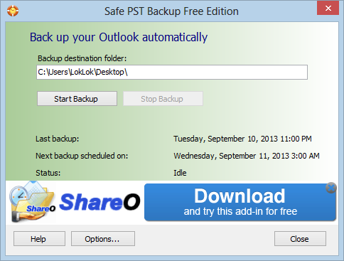 Safe PST Backup Free Edition