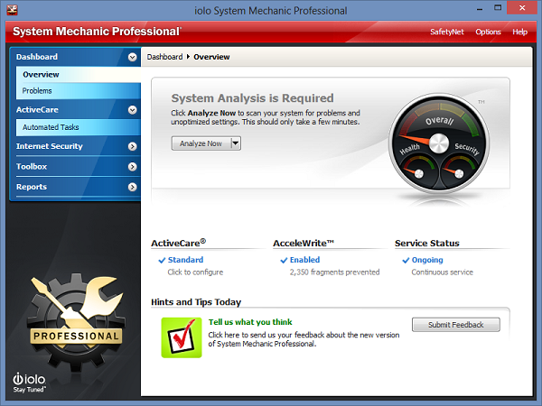 System Mechanic 12 Pro Interface