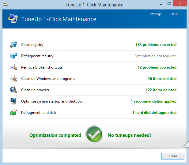 TuneUp 1 Click Maintenance