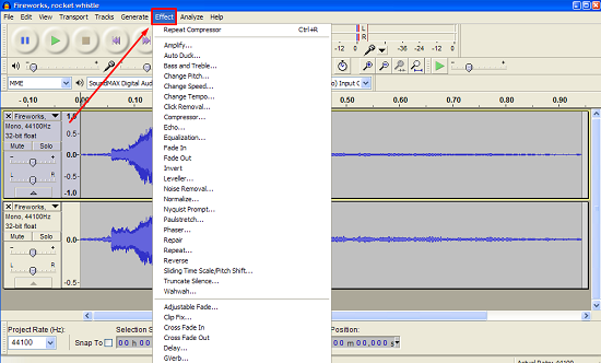Audacity Effect Menu