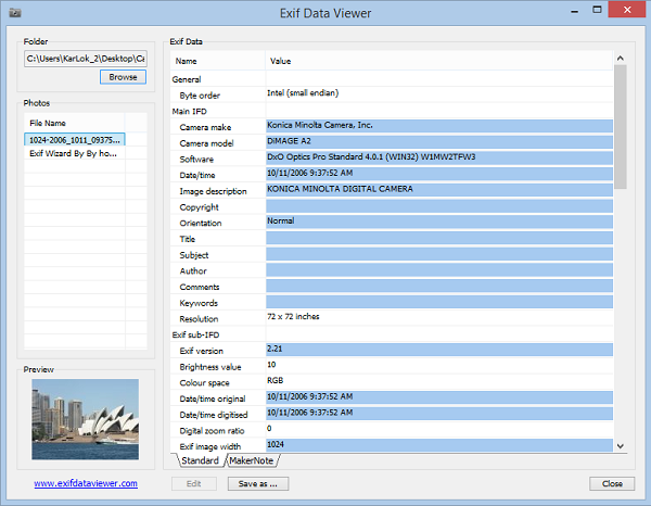 Exif Data Viewer