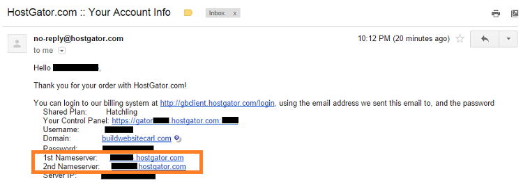 HostGator Account Info email