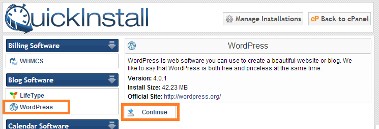 Select WordPress QuickInstall