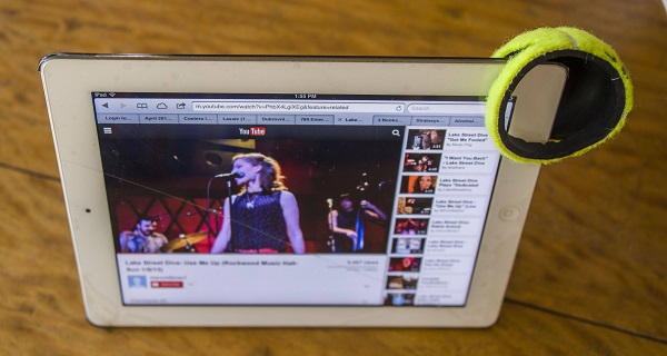 Amplify iPad speaker with tennis ball.