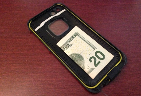 Put a folded up bill in the case of your phone for emergencies. Do it now!