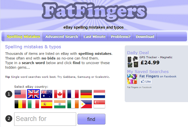 FatFingers.com finds eBay items with typos, which often have no bids because no one can find them.