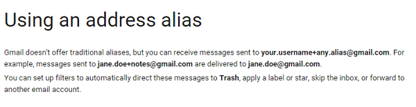 Organize and filter your Gmail by using address aliases.