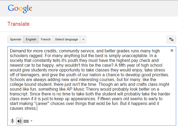 Writing an essay? Copy and paste it into Google Translate. Listen to it. This can help you to find errors easily.