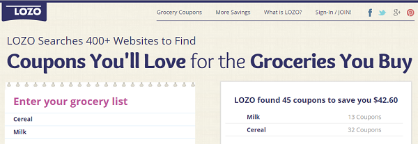 LOZO.com finds grocery coupons based on the grocery item names you entered.