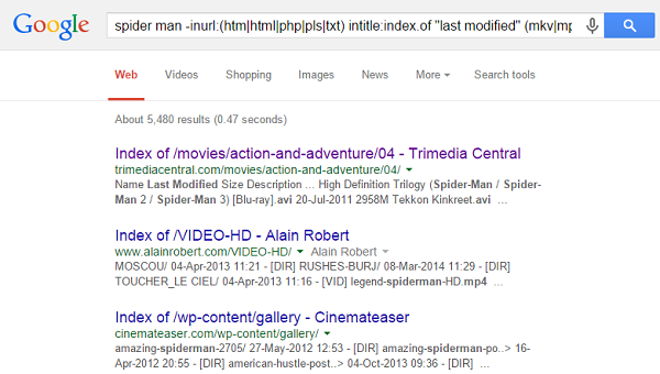 "To find direct download link for movies, search "" -inurl:(htm