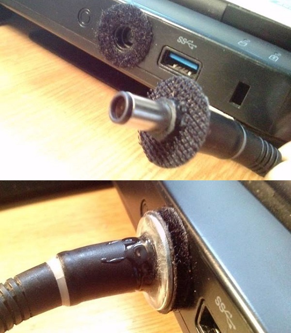 Laptop charger keep falling out? Use Velcro.
